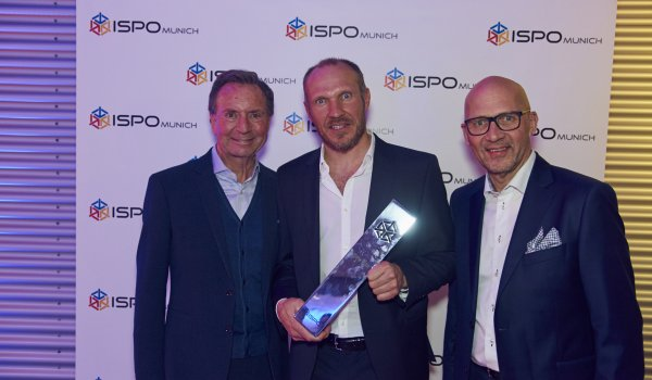 Gerd Rubenbauer, Hermann Maier and Klaus Dittrich with the ISPO trophy 2017.