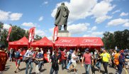 Budweiser has been a sponsor of Fifa since the 1986 World Cup in Mexico. As an official sponsor, Budweiser enjoys the exclusive right to serve beer at the World Cup. Like here behind the Lenin statue in Moscow.