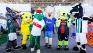 Cuddly companions in China: the mascots of the German Bundesliga football clubs VfL Wolfsburg, Borussia Dortmund, VfB Stuttgart, FC Schalke 04, Bayer Leverkusen and Borussia Mönchengladbach (from left to right).