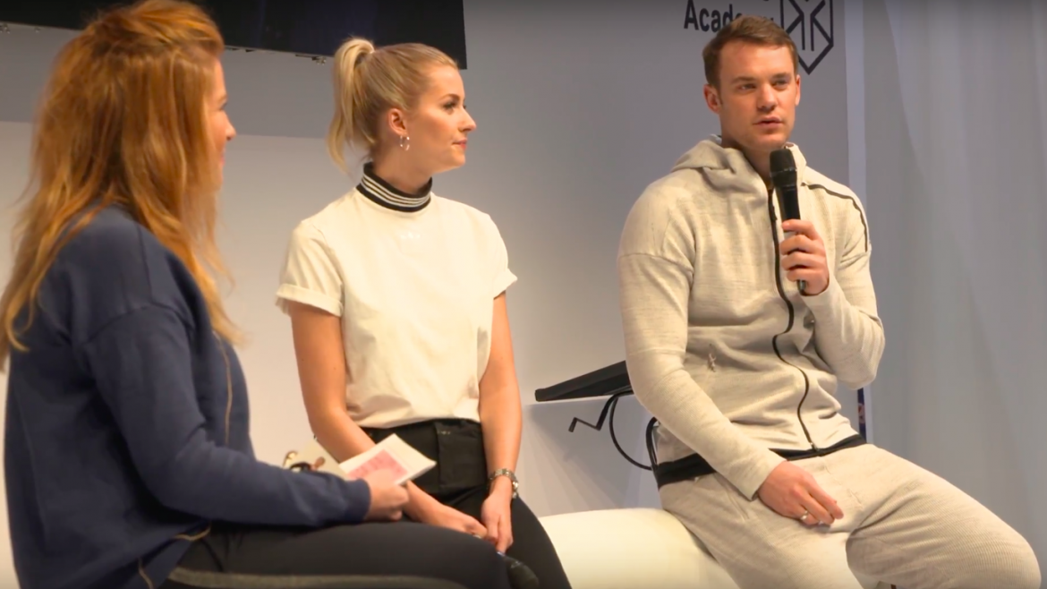 Lena Gercke and Manuel Neuer at ISPO Munich 2018