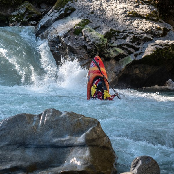 Kayaker Peter Csonka in the wild river