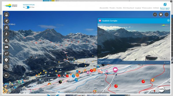 The ski area in St. Moritz can be explored completely digitally.