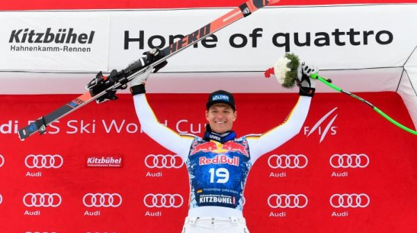 Thomas Dreßen celebrates his first World Cup victory on the infamous Streif.
