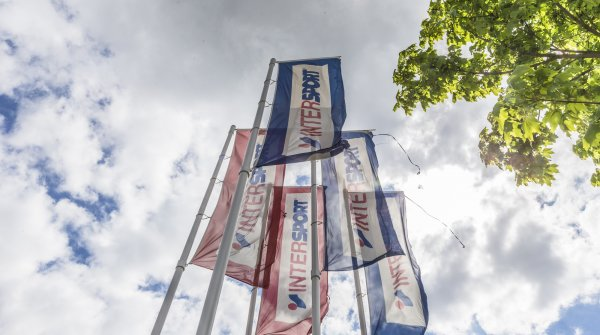 Intersport flags fly in the wind