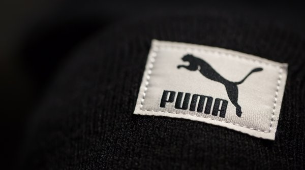 The embroidered Puma logo