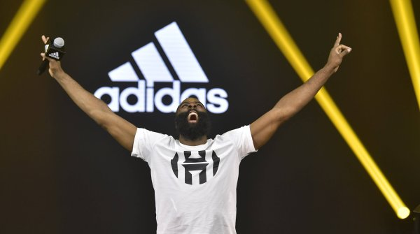 Basketballer James Harden is one of the most prominent Adidas wearers in the USA.