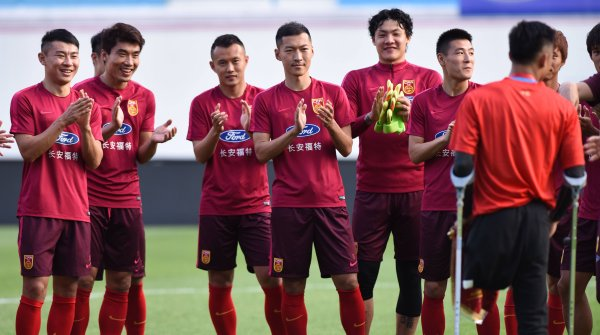 China's football champion team from Guangzhou Evergrande training.