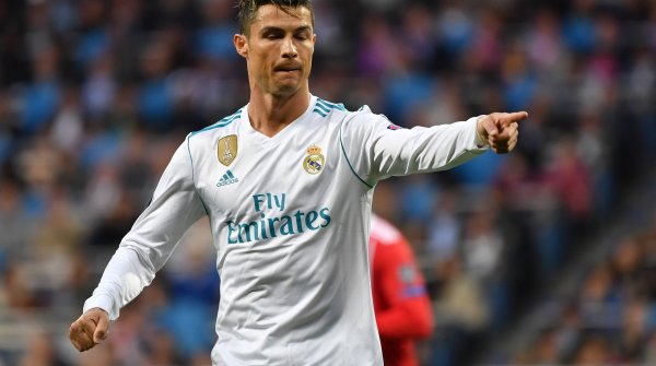 Cristiano Ronaldo in the Adidas jersey of Real Madrid