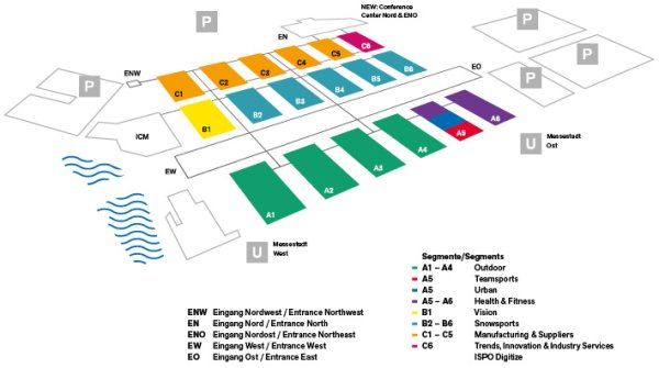 Map of ISPO Munich 2019 with entrances and parking spaces