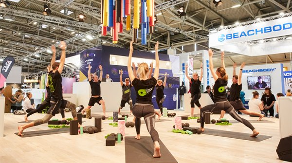 Yoga demonstration at the ISPO Munich