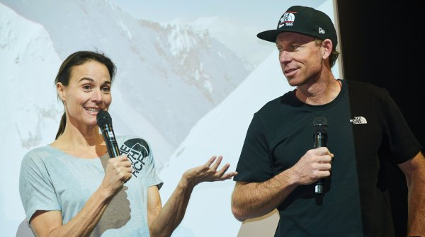 Hilaree Nelson und Jim Morrison auf der ISPO Munich 2019 bei The North Face.