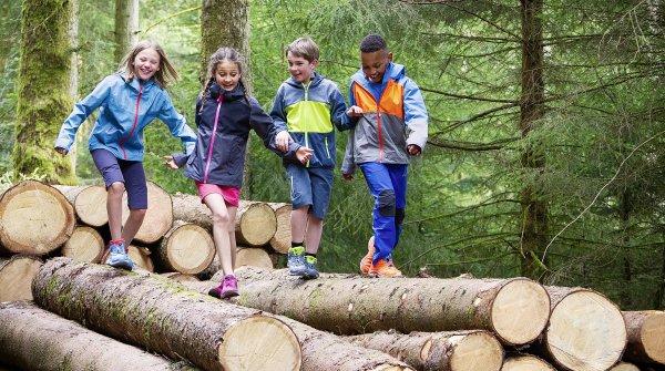Kinder balancieren beim Sport über Baumstämme