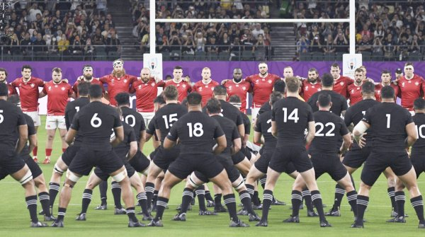New Zealand's team performing its famous haka before a World Cup match.
