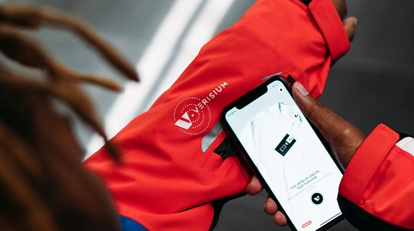 Use of the Verisium app on a Cloudburst Wear jacket.