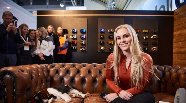 Lindsey Vonn at ISPO Munich 2020 at the Yniq booth