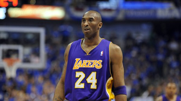 Kobe Bryant in the Los Angeles Lakers jersey