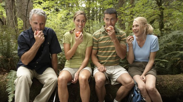 Four hikers making a break and eating an apple