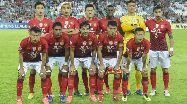 The team of Guangzhou Evergrande with the columbian Superstart Jackson Martinez.