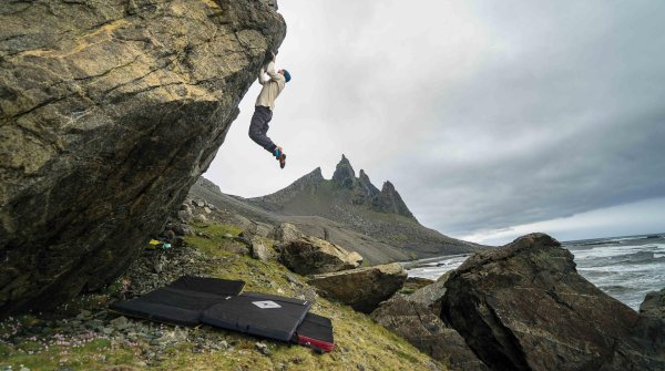 Chris Sharma is one of the best climbers of the world. Here he is bouldering out and about in Iceland.