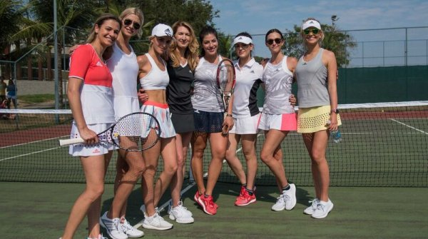 The Adidas influencers meet tennis legend Steffi Graf (fourth on the left) in Rio