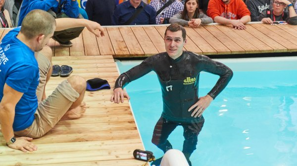 Freediving in the Water Sports Village with Robert Woltmann (left) and Peter Durdik (right).