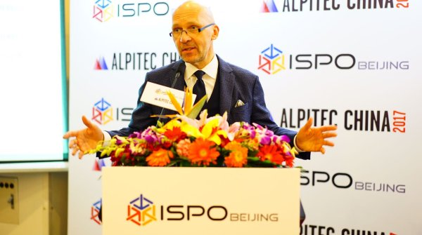 Trade fair boss Klaus Dittrich speaks at the press conference before ISPO BEIJING 2017.