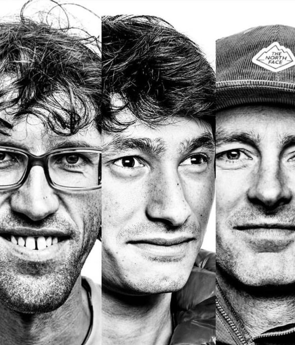 Die drei internationalen Kletterstars Hansjörg Auer, David Lama und Jess Roskelley (v.r.n.l.).